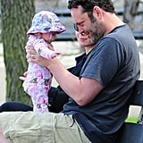 Vince Vaughn and his wife, Kyla Weber, spent the afternoon with their daughter, Locklyn, at a Chicago park in May 2011.