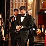 Ben Affleck took a moment to reflect on his statue as he walked off the stage.