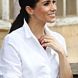 Meghan Markle Wearing the Natalie Marie Diamond Sun Studs