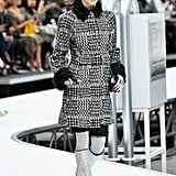 She Wore a Patterned Tweed Coat at Chanel