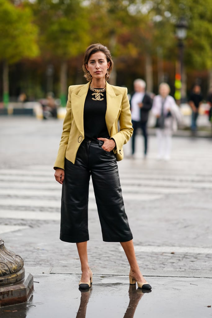 Leather Pants Outfit Idea: Leather Bermuda Shorts + Blazer
