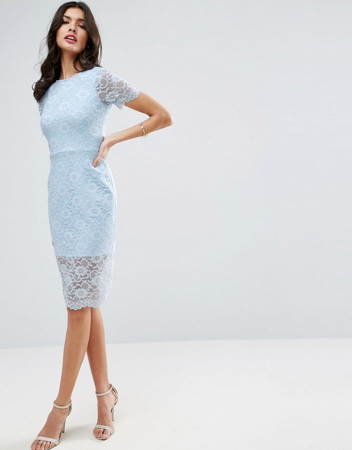 Asos Lace Scallop T-Shirt Midi Bodycon Dress