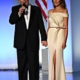 Many will remember Melania's custom Hervé Pierre inaugural gown, which she wore in January 2017. The dress is now on display in the Smithsonian National Museum of American History.