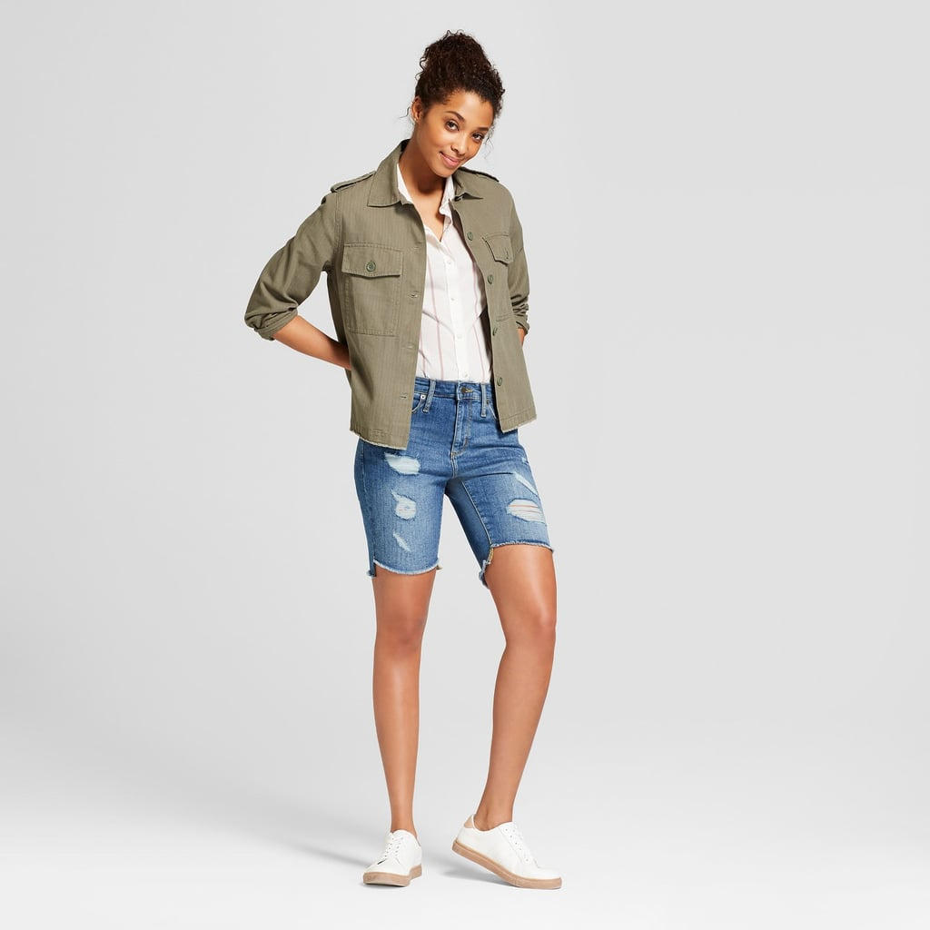 Target High-Rise Destructed Bermuda Jean Shorts