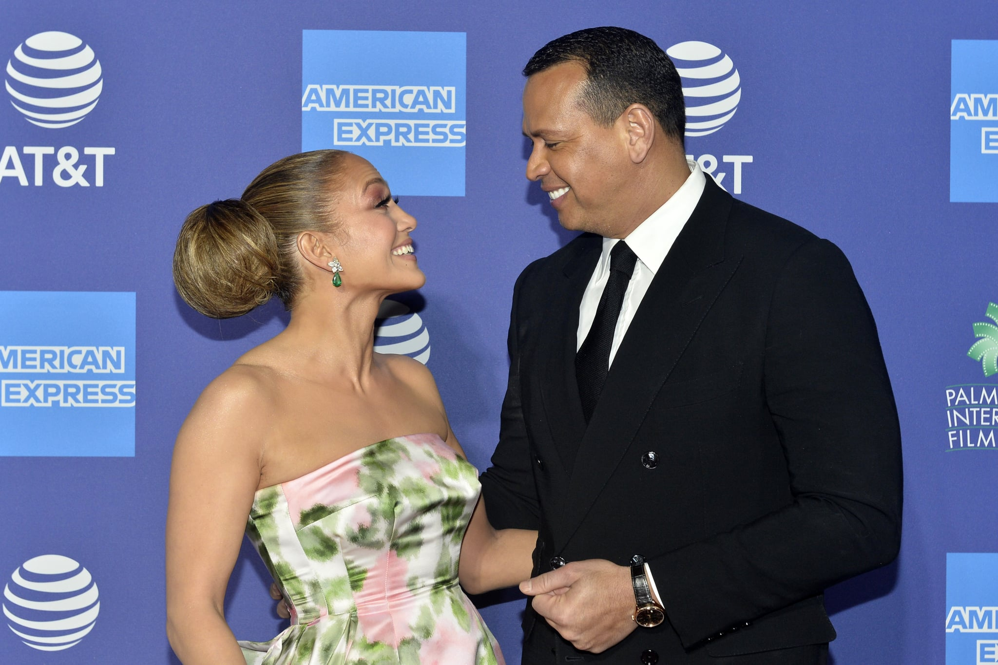 PALM SPRINGS, CALIFORNIA - JANUARY 02: Jennifer Lopez and Alex Rodriguez arrive at the 2020 Annual Palm Springs International Film Festival Film Awards Gala on January 02, 2020 in Palm Springs, California. (Photo by Jerod Harris/FilmMagic)
