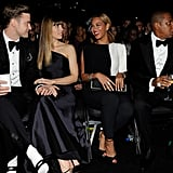 "Justin Timberlake and Jessica Biel sat front row with Jay-Z and Beyoncé during the Grammys, just a few weeks after Justin and Jay-Z met up in LA to film the video for ""Suit & Tie."" Jay-Z isn't the only half of the couple Justin's working with, since Beyoncé revealed she and JT are also collaborating."