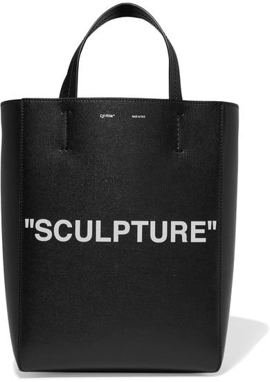 Off-White Medium Printed Textured-leather Tote - Black