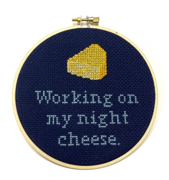 Working On My Night Cheese Needlepoint