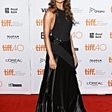 Alicia modelled a custom-made silk satin, crepe, and leather Louis Vuitton gown at the premiere of The Danish Girl during the 2015 Toronto Film Festival.