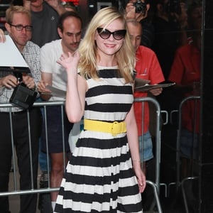 Kirsten Dunst Wearing Striped Dress and Yellow Belt