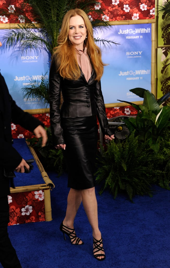 Nicole Kidman was joined by her husband, Keith Urban at last night's Just Go With It premiere in NYC, and she stopped to chat with us on the red carpet about her love for Jennifer and the film's leading man, Adam Sandler. Adam's wife Jackie stepped aside while he and Jennifer Aniston posed and gushed about working together on their way into the screening. Jennifer stepped out wearing a dramatic black Dolce & Gabbana gown and carrying a custom Burberry clutch. Her costar Brooklyn Decker made a statement in a wild leopard print dress by the same designer while their other oncreen pal, Nicole, went with a leather L'Wren Scott suit.  Brooklyn, meanwhile, talked about the difficulties of maintaining her bikini body while they filmed in the Winter, though we think the model's figure looks great all the time.