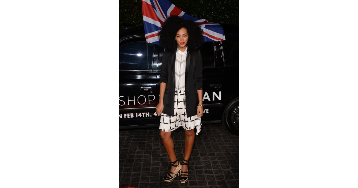 At the topshop opening in la solange knowles gave her for Black and white celebrity prints