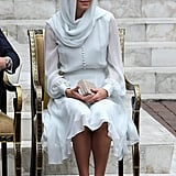 Kate removed her L K Bennett heels in accordance with Islamic religious law.