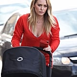 Hilary Duff carried her wallet and pushed the stroller.
