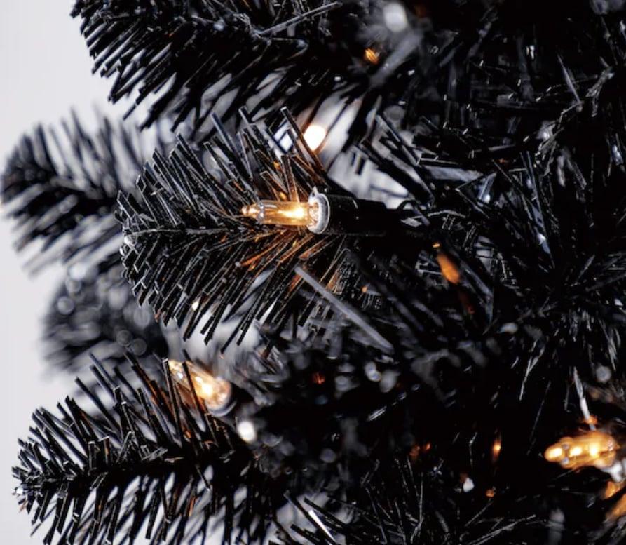 Pre-Lit Shiny Black Pencil Tree
