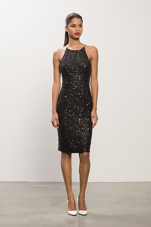 Sequin Black Dress, Heaven White Patent Pump.