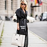 A Belted Blazer, Maxi dress, and White Trainers