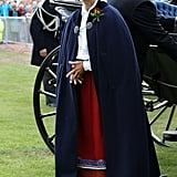 Queen Silvia attended an event celebrating Crown Princess Victoria of Sweden's 35th birthday, wearing traditional dress.