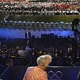 The queen watched the event.