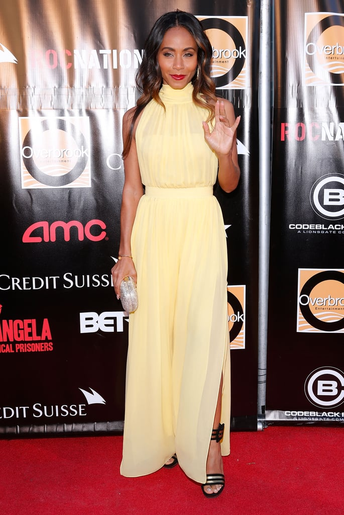 Jada Pinkett Smith captured the color of Spring in one fell pastel-yellow swoop, thanks to this high-necked Miu Miu gown and striped Saint Laurent sandals.