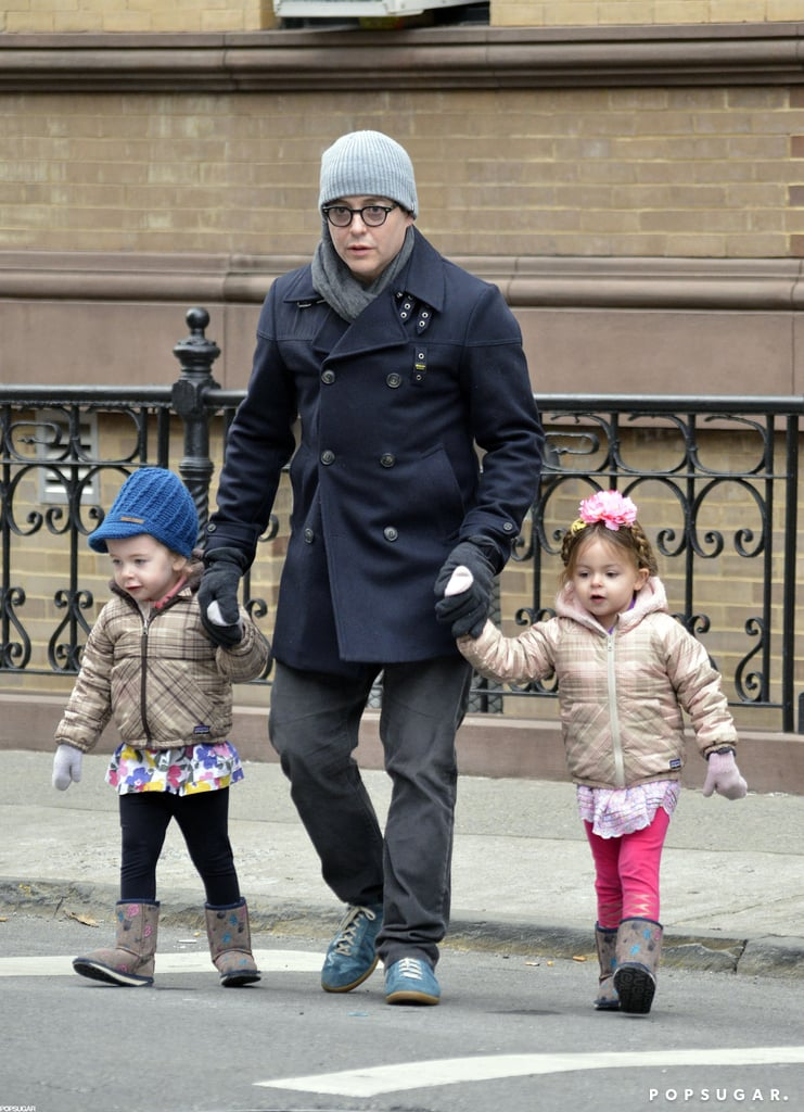 Matthew Broderick held hands with his twins, Loretta Broderick and Tabitha Broderick, for a stroll around their West Village neighborhood.