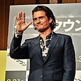 Orlando Bloom waved to the crowd in Tokyo while premiering Zulu on Wednesday.