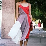 A colour blocked dress accompanied by standout accessories.  Photo courtesy of That's Chic