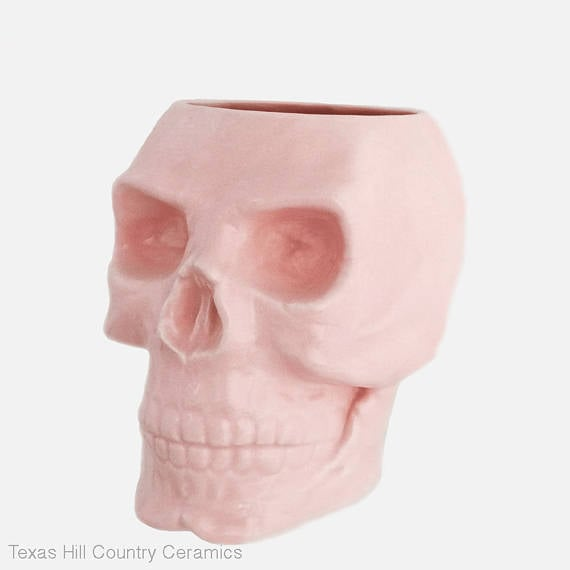Texas Ceramics Pink Skull Holder ($20)