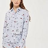 Topshop Stripe Heart Print Pyjama Shirt