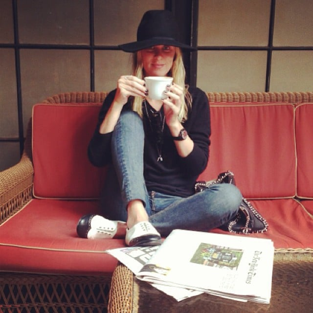 Nicky Hilton relaxed with a cup of coffee and a newspaper. Source: Instagram user nickyhilton