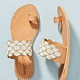 Laidback London Beaded Strap Slide Sandals