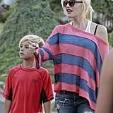 Gwen Stefani and Kingston Rossdale went to an LA birthday party on Sunday.