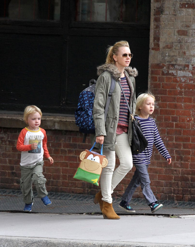 Naomi Watts walked with her boys in NYC.
