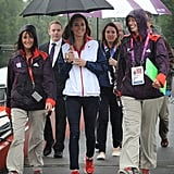 The Duchess carried her own umbrella as Prince William wasn't there to hold it for her!