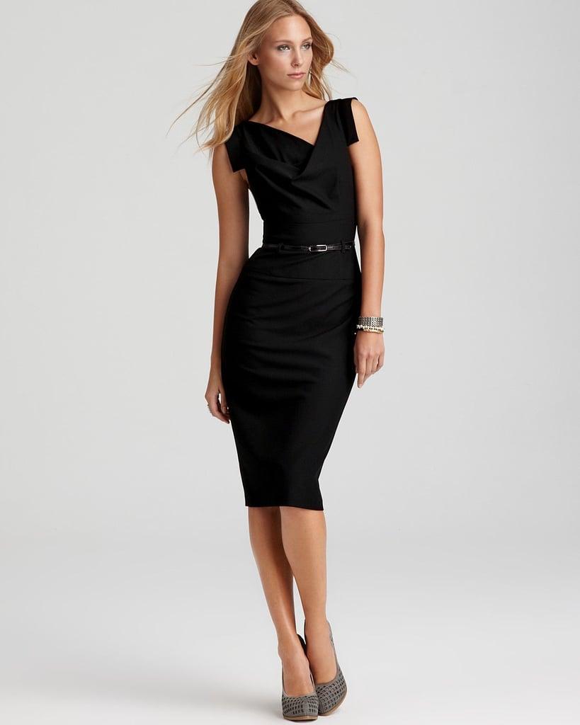 Black Halo Jackie O. Drape Knee-Length Dress | Meghan Markle Black ...