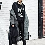 Model Soo Joo Park proved that graphic sweatshirts and cool chokers go together like peanut butter and jelly with this edgy New York Fashion Week look.