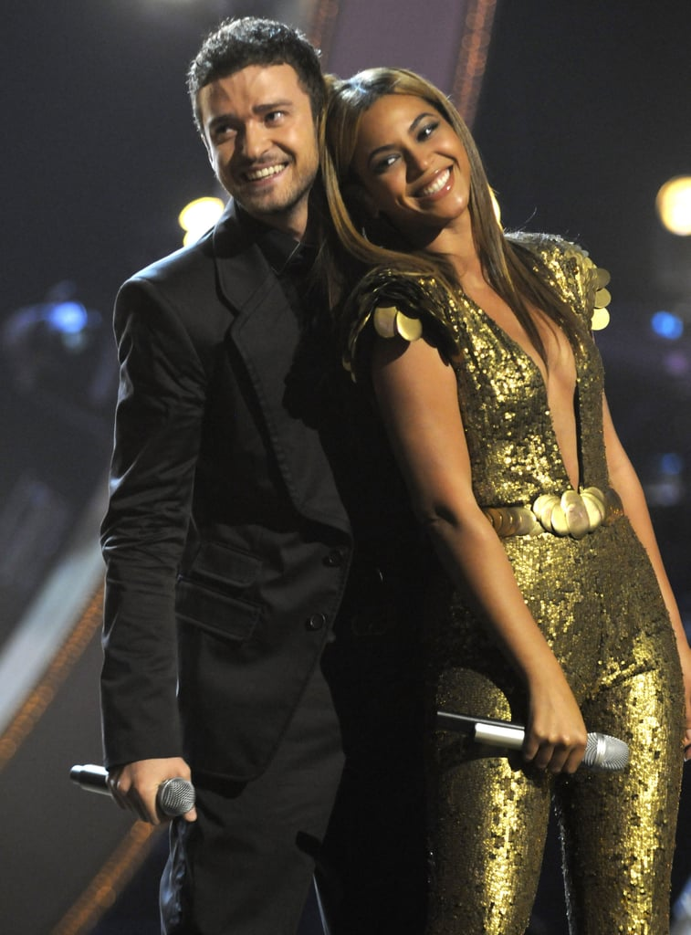 Beyoncé leaned on Justin during their September 2008 Fashion Rocks performance at NYC's Radio City Music Hall.