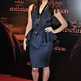 Peplum-trimmed Givenchy for the Paris premiere of Breaking Dawn Part 1 in Paris in 2011.