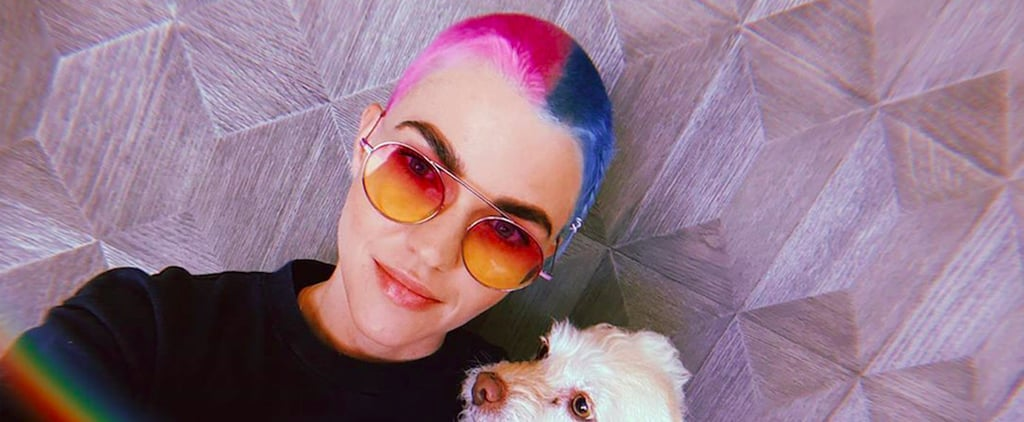Ruby Rose's Buzzcut and Half-Pink, Half-Blue Hair Color