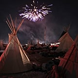 Fireworks fill the sky above the Oceti Sakowin Camp.