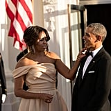 Michelle made sure Barack's bow tie was looking its best before they welcomed the Prime Minister of Sweden, Stefan Löfven, and his wife, Ulla Löfven.