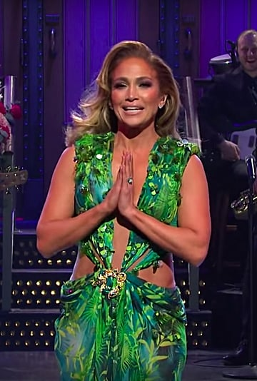 Jennifer Lopez Wore Her Green Versace Dress in SNL Monologue