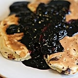 Chocolate Chip Pancakes With Blueberry Syrup