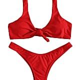 Tie Knot Front Thong Bottom Swimwear Set