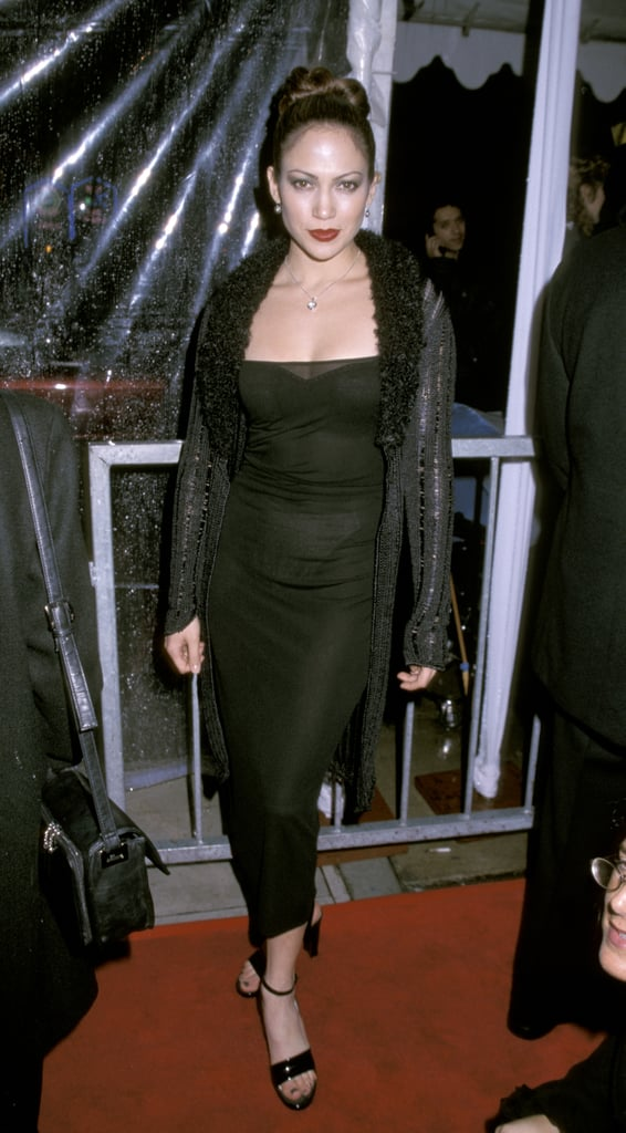 Rocking all black and a bold lip at the grand opening of the Conga Room in '98.