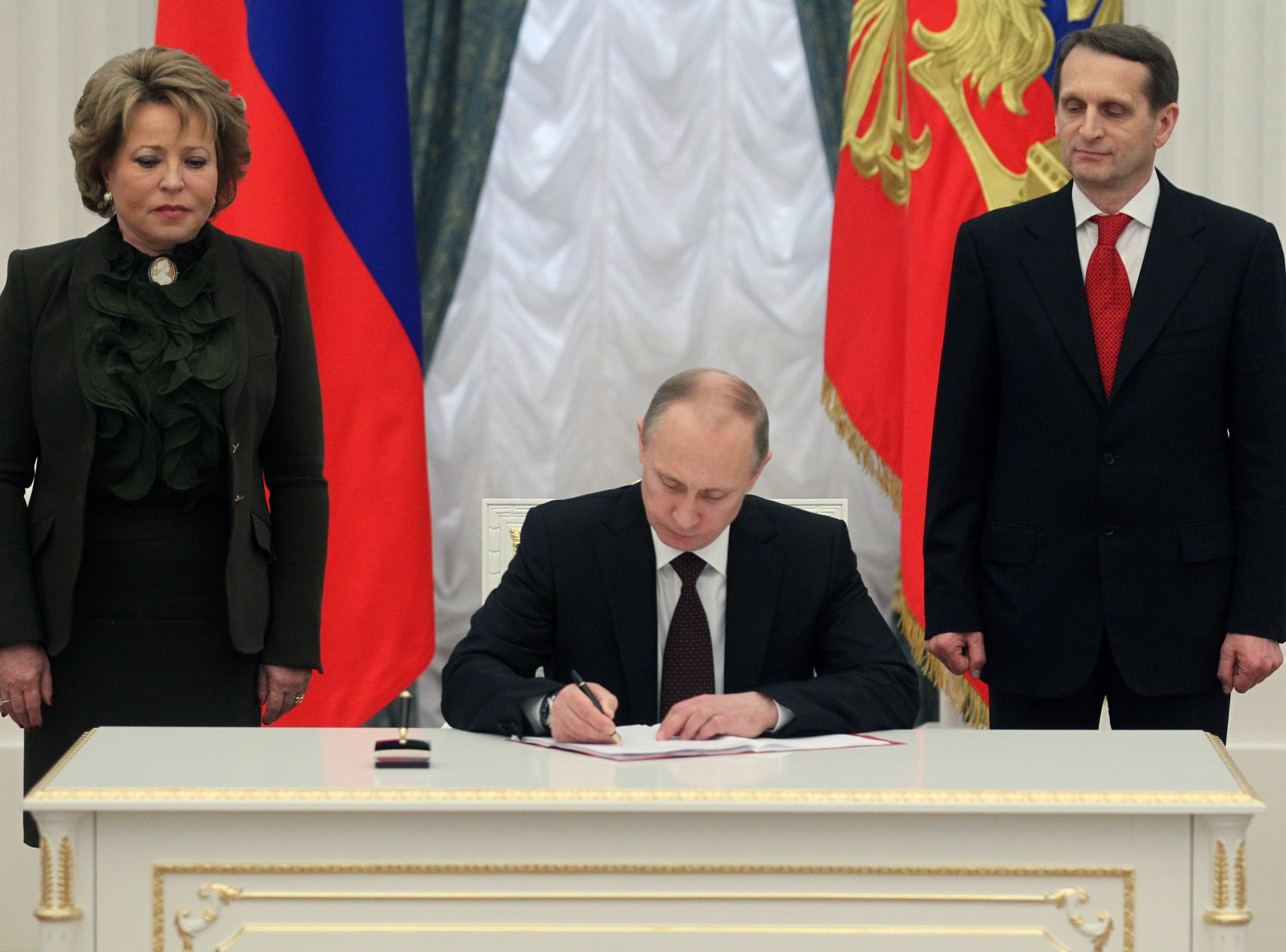 On Friday, Putin signed laws to complete the annexation of Crimea. His move came shortly after Ukraine agreed to a trade deal with the EU — the same deal that former Ukrainian President Viktor Yanukovych had refused to sign last November, sparking the protests. We'll have to wait to see what happens next.