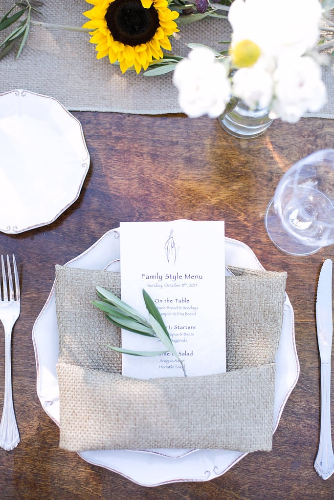 Two essential elements of a rustic reception: greenery and burlap.