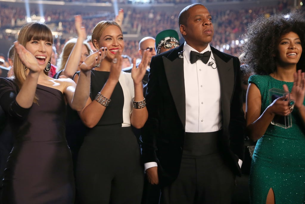 Jessica Biel, Beyoncé Knowles, Jay-Z and Solange Knowles rocked out in the audience.