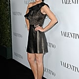Jessica Szohr chose a flirty-meets-edgy ruffle-adorned leather and lace minidress.