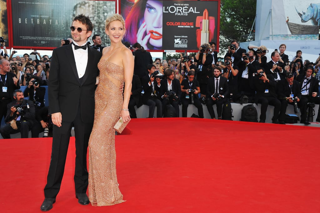 Kate Hudson and Matthew Bellamy posed on the red carpet at the Venice Film Festival.